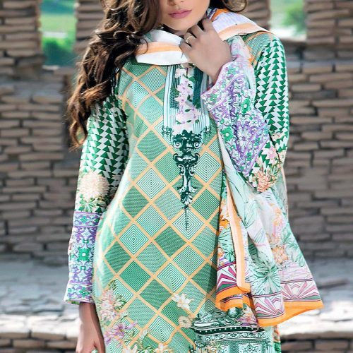 green printed lawn suit for sale