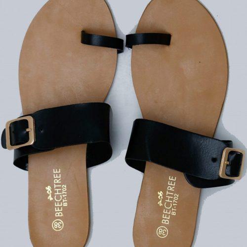 Flat Leather Sandals Black