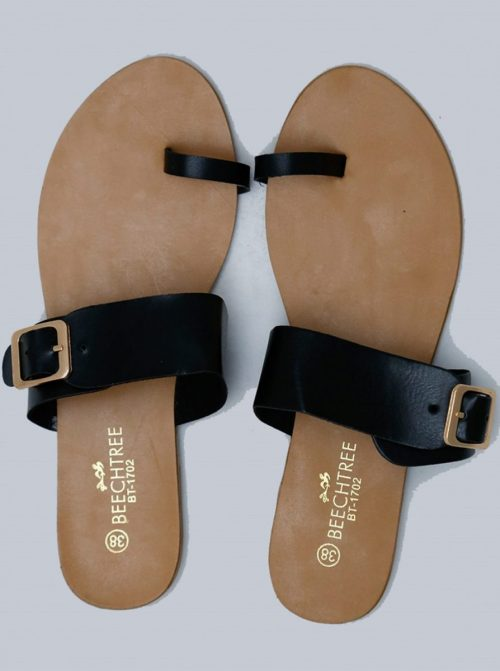 Flat Leather Sandals Black