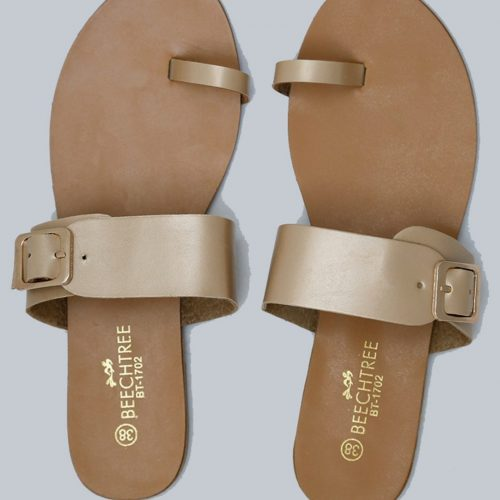 Flat Leather Sandals Golden