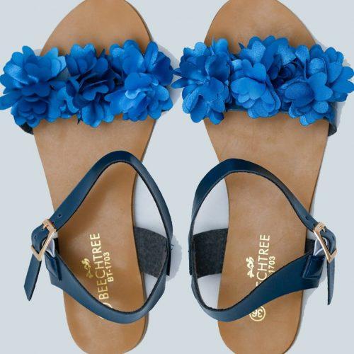 Floral Sandals Teal Noir