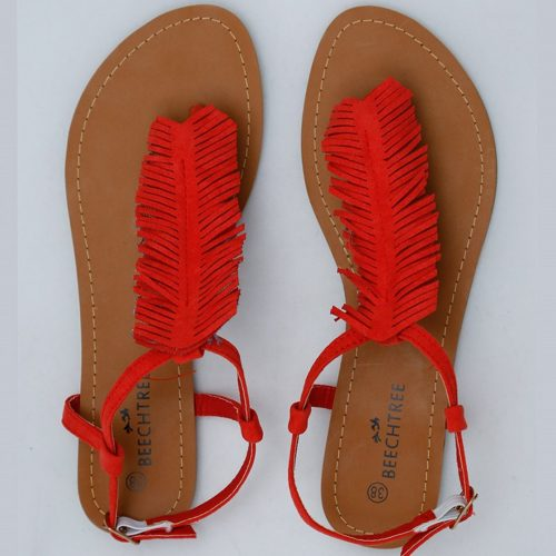 Fringe-Cut Sandals red color hot fashion footwear