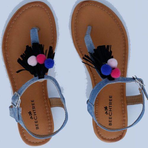 Back Flats Sandals Blue