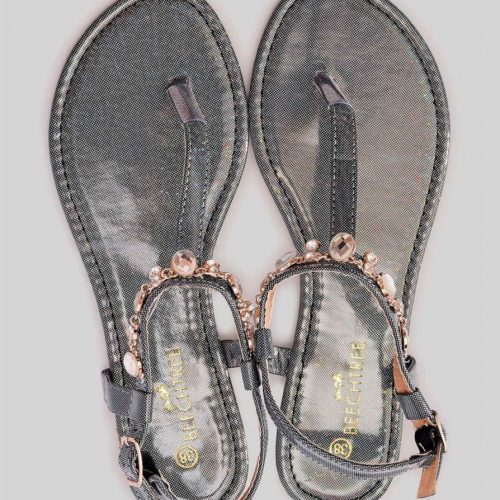 Metallic Sandals Black