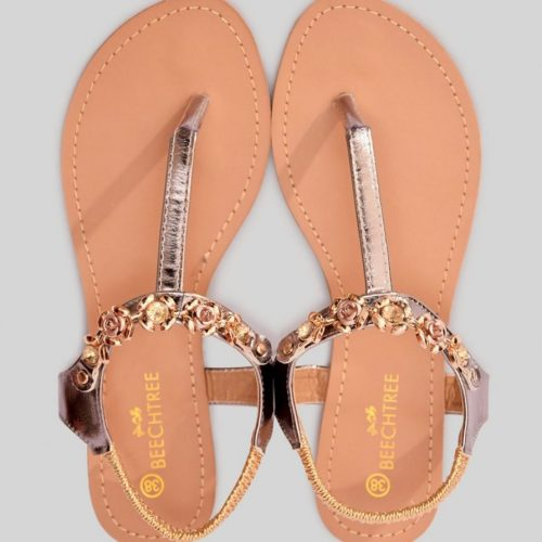 leather sandal gold