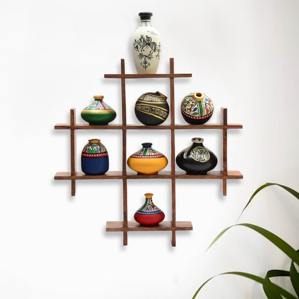 Kitchen Decoration Pakistan: Wood Shelf Multi-box Wall Decoration Piece