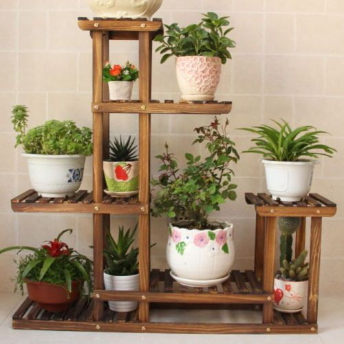 Indoor and Outdoor Wooden Plant Stand For Garden And Home