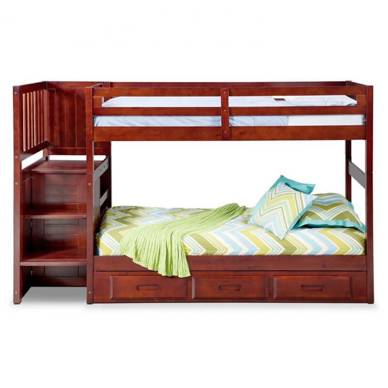 double story bed in wood with step stairs and draws in Pakistan