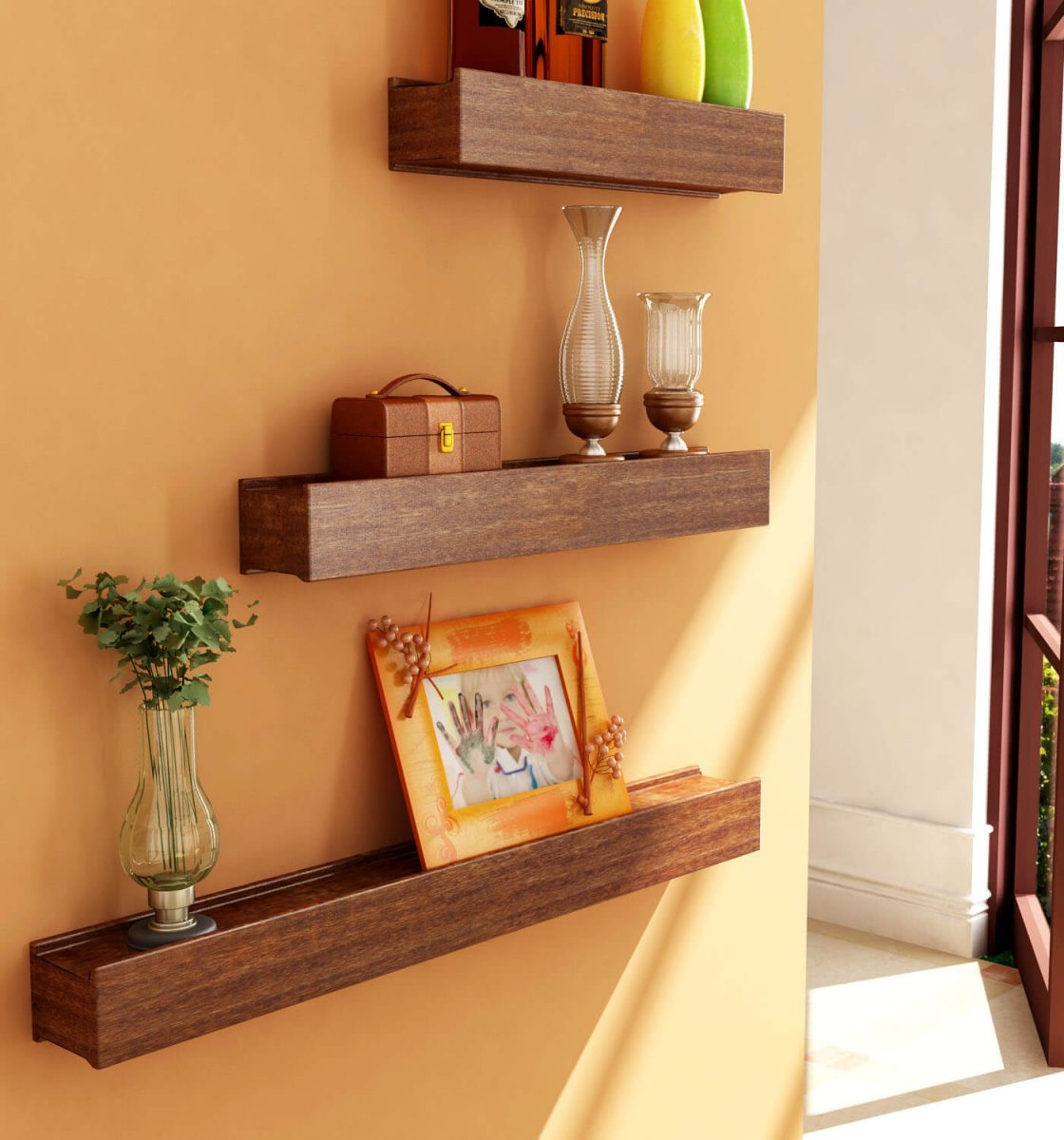 Wooden shelf for home decoration three pieces in pakistan - Family room wall decor ideas ...