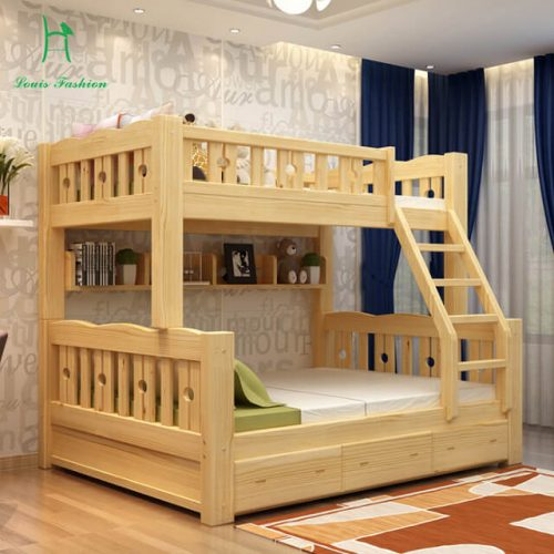 Solid wood bunk bed for children and parents double story in Pakistan
