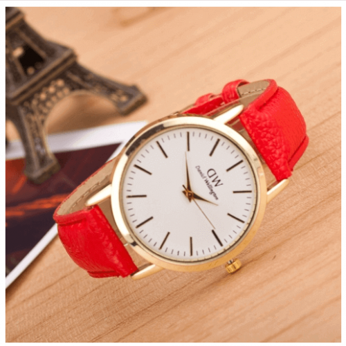 Red Fashion and stylish Marble And Gold Belt Watches in Pakistan