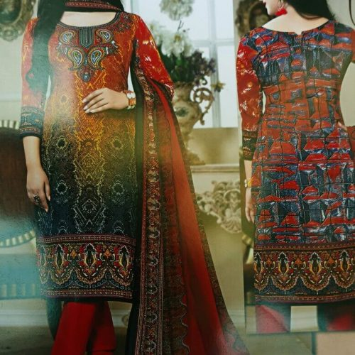 multi color printed lilan suit for casual wear