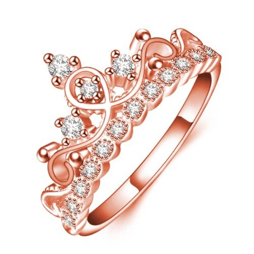 Gold Plated Zircon Ring Princess Queen Style Design size 8 in Pakistan