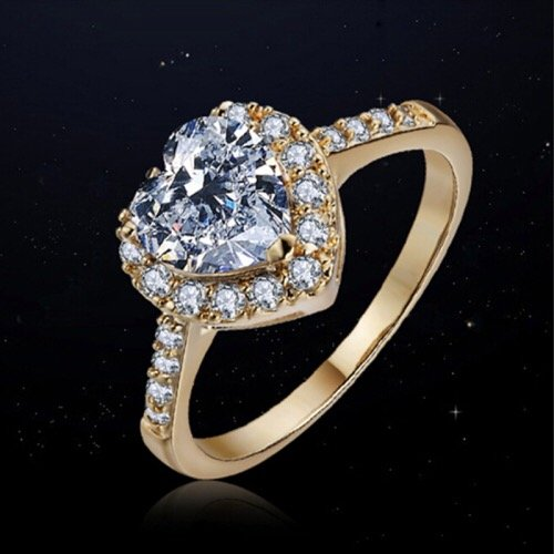 heart shape ring with zircon inlaid best jewelry design in Pakistan