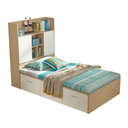 Stylish Bed with Heavy storage capacity shelf and draws in Pakistan