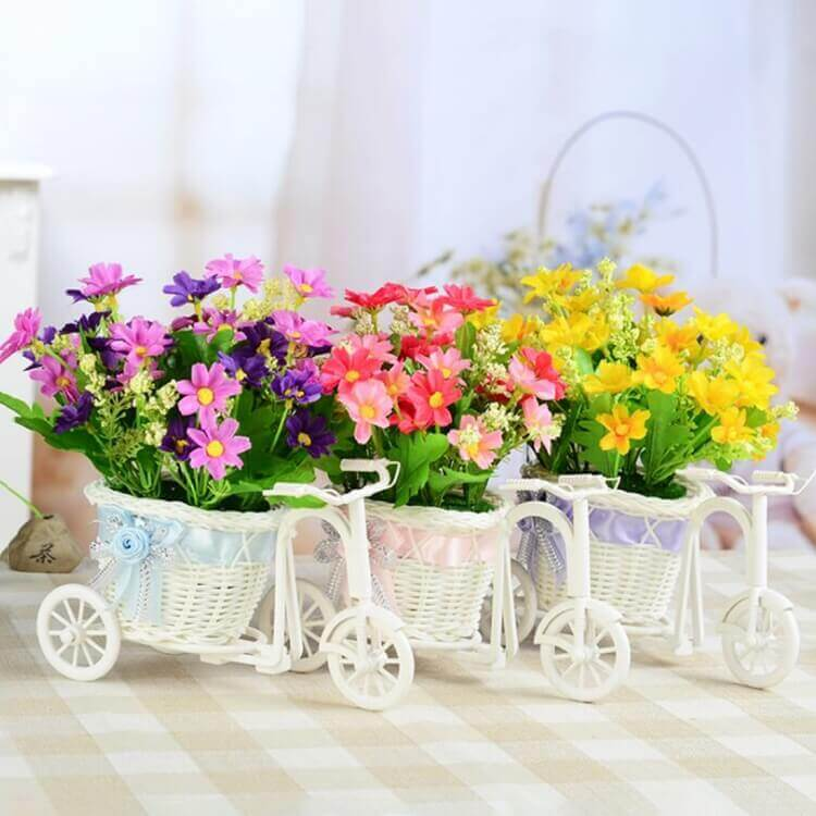 Tricycle Bike Flower Basket Home Garden Wedding Party Decoration