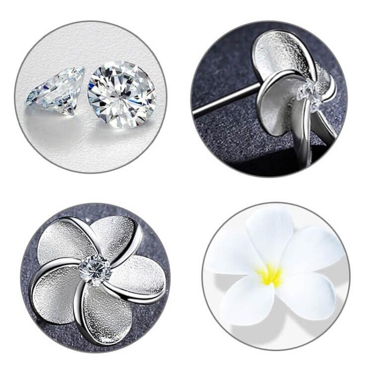 flower shape mini diamond fixed small earring studs in Pakistan