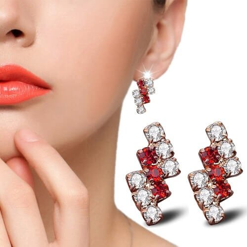 18 k Gold Irregular Crystal Stud Earring For Women