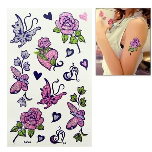 Temporary Tattoo Stickers Butterfly & Flower Pattern in Pakistan