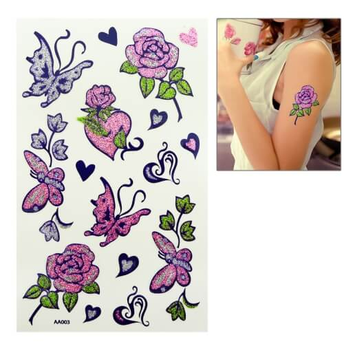 Temporary Tattoo Stickers Butterfly & Flower Pattern in Pakistan