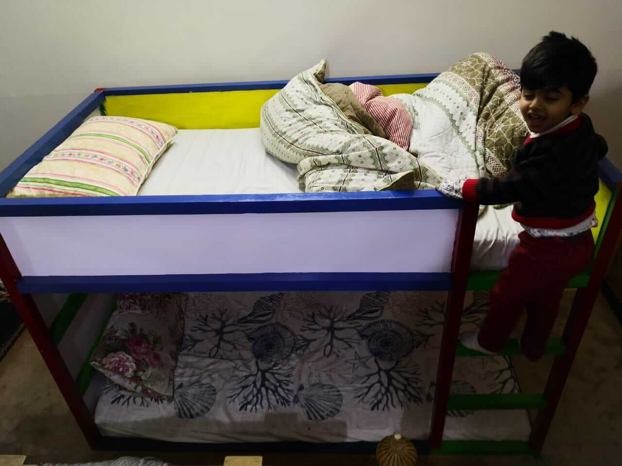 child fewer height wooden double story bed in Pakistan