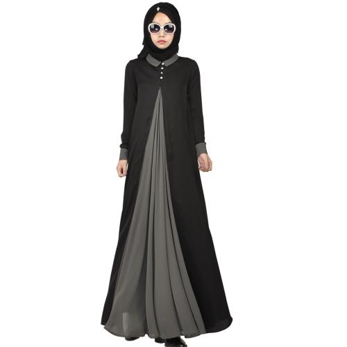 Women's Islamic Black Silk Maxi Dress