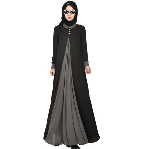 Women's Islamic Black Silk Maxi Dress