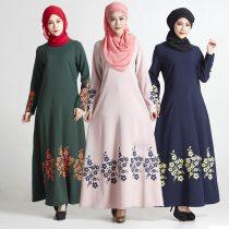 Fashion Muslim Floral Print Women's Polyester Dress