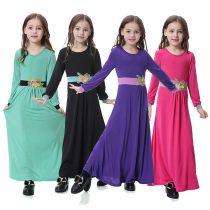 Casual Long Muslim Girls' Acetate Dress