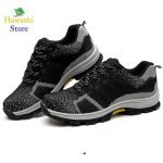 Steel Toe Safety Shoes breathable construction rubber sole boots