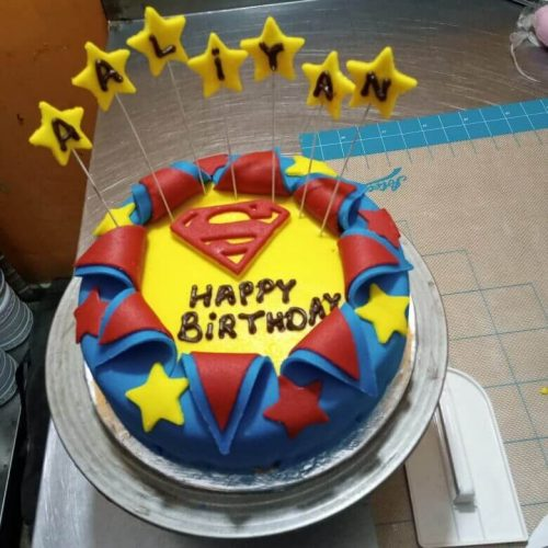 Superman Happy birthday Font Cake in Lahore