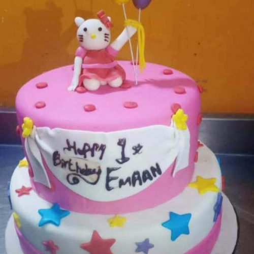 Happy Birthday Cake With Name and Cartoon