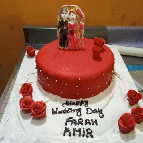 Happy Wedding Day Celebration Cake in Lahore