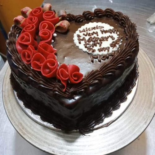 Happy Mother's Day Heart Style Cake in Pakistan.