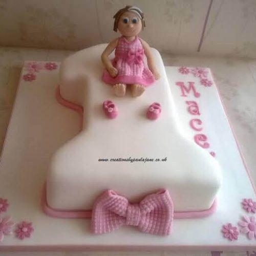 Small Kids Birthday Cake With Cartoon Style