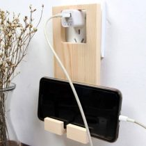 Wooden Mobile Hanger Stand with Switch and Plug
