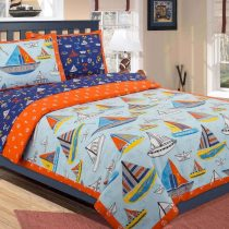 Kids Bed Sheet Boats Quilt Cover Set