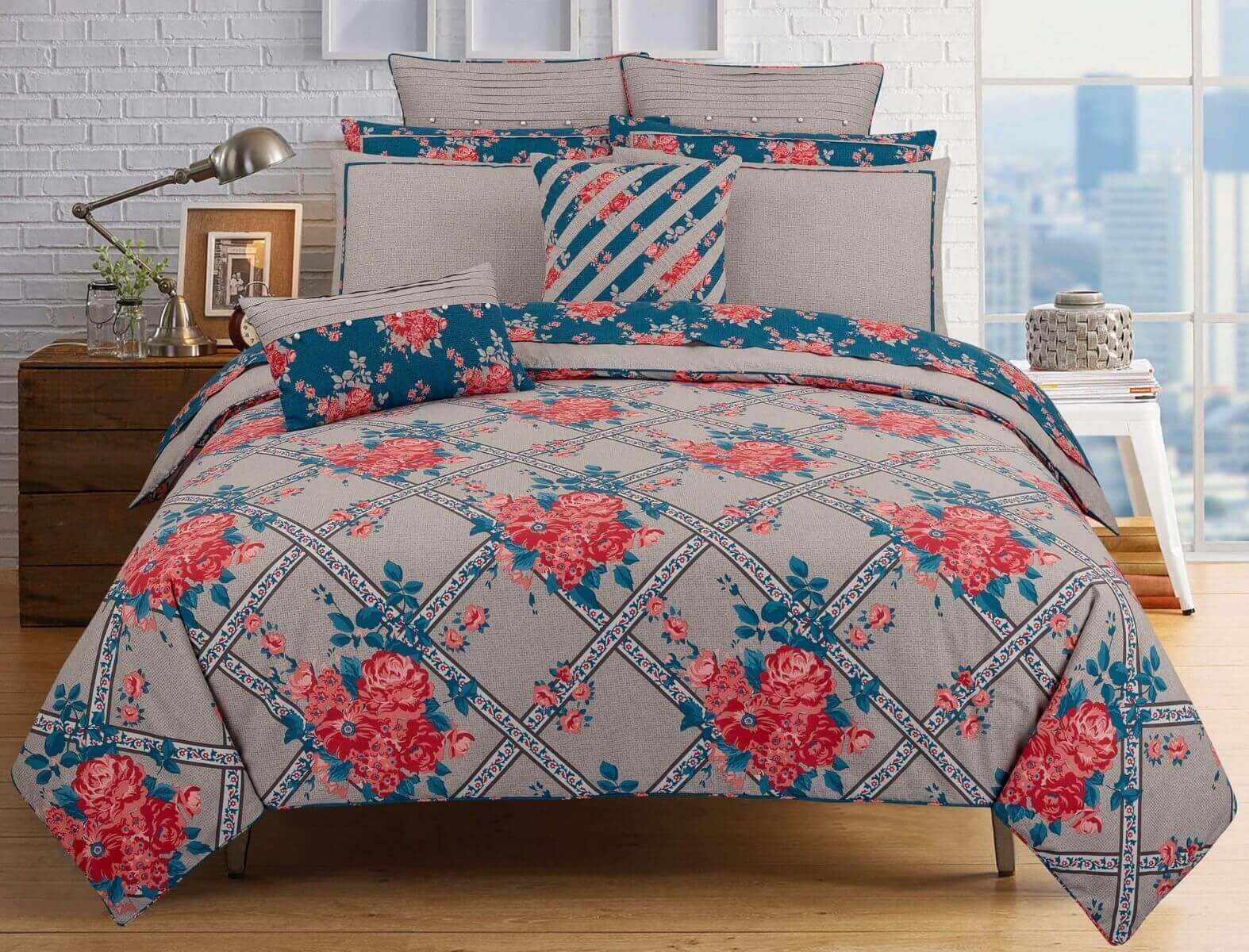 Coral Rose Design Quilt Cover Set For Your Bed