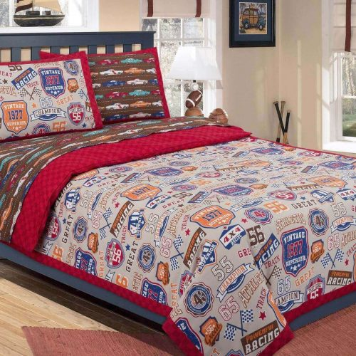 Kids Quilt Cover Set Racing Cars Style